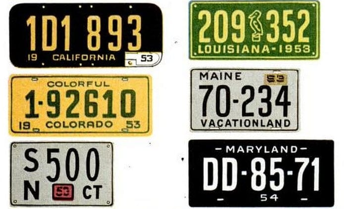 Vintage license plates from 1953 (3)