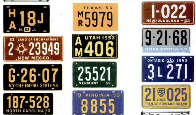 Vintage license plates from 1953 (9)