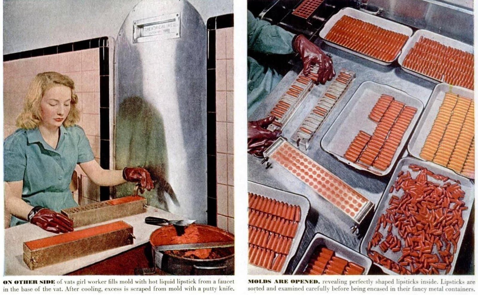 Vintage lipstick factory molds and manufacturing - 1940s