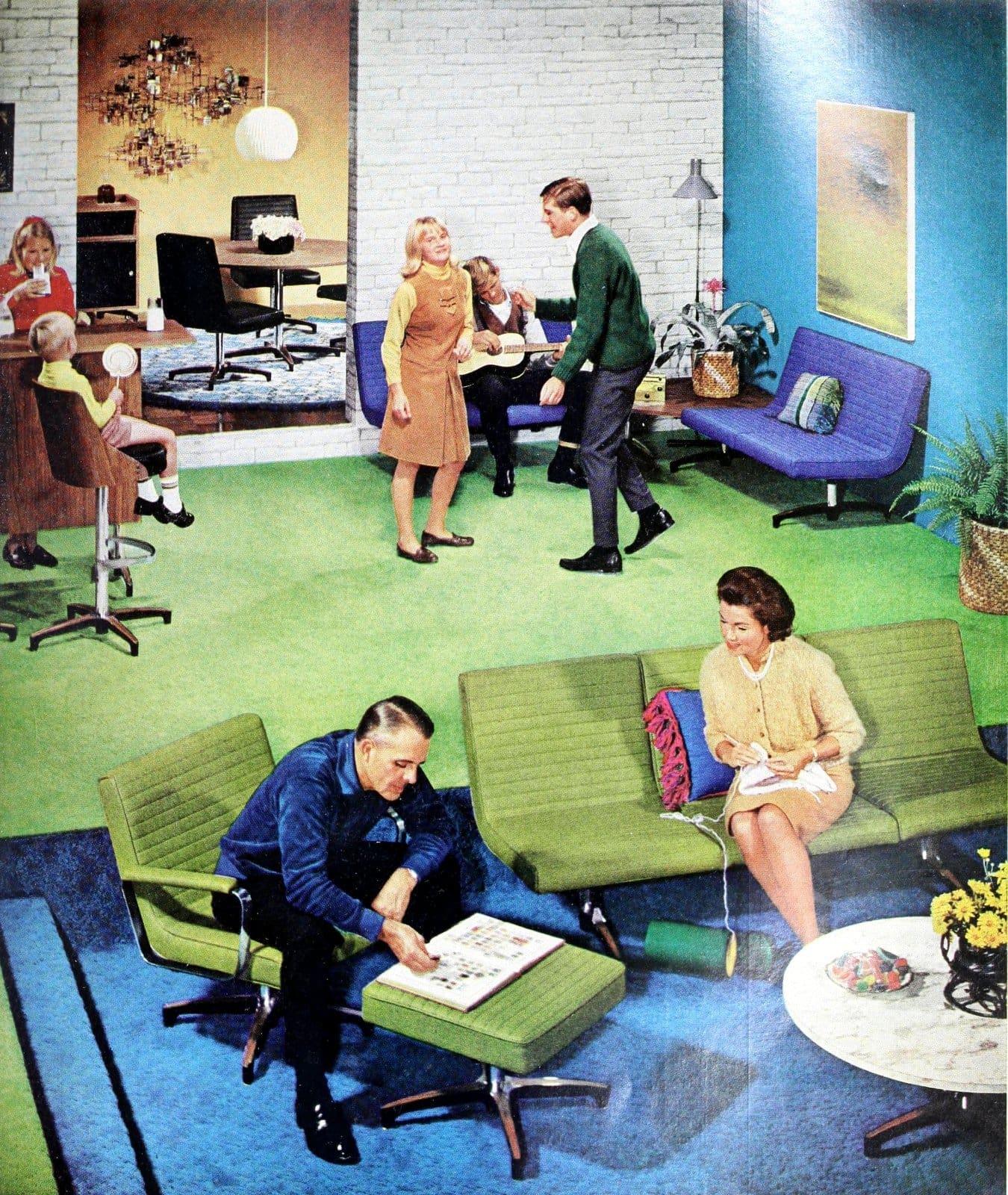 Vintage living room decor with Chromcraft Commander furniture (1964)