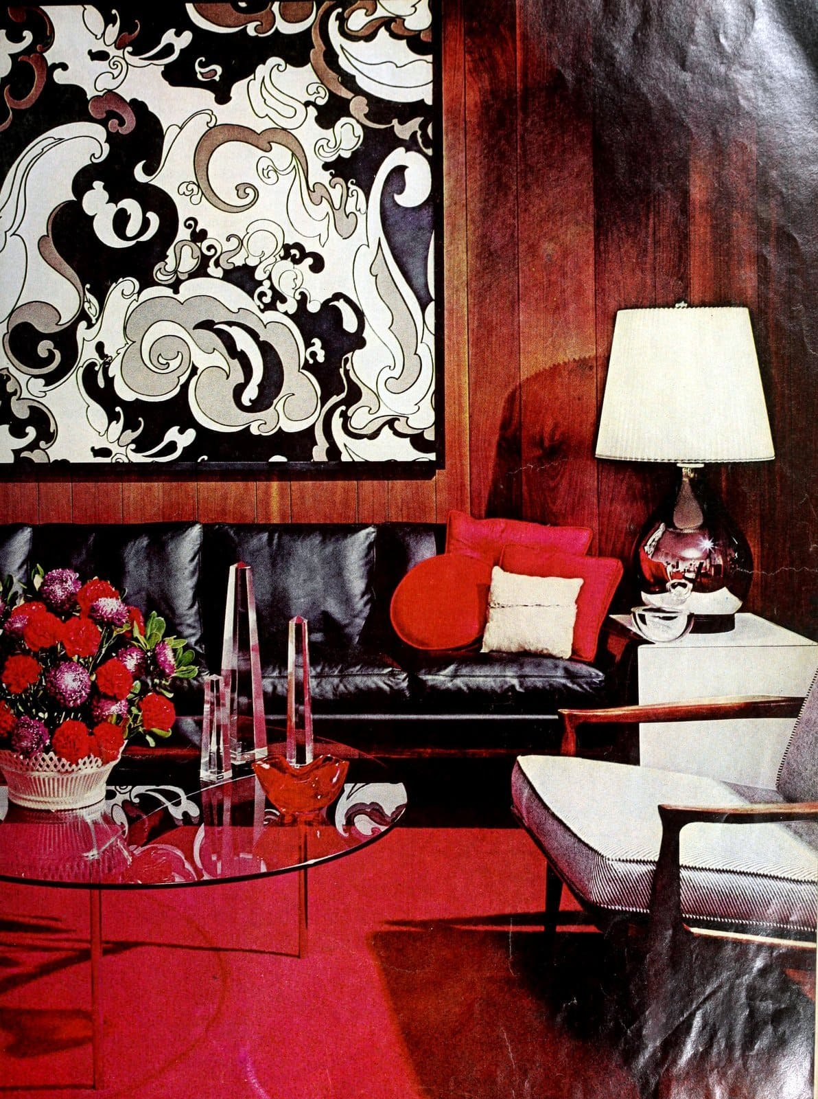 Vintage living room decorating in red with black and white