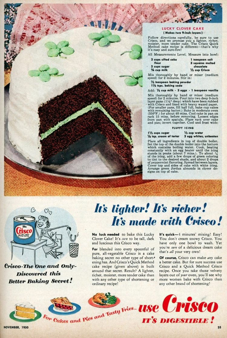 Vintage lucky clover cake recipe for St Patrick's Day (1950)