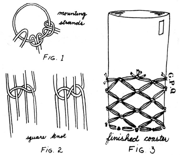Vintage macrame coaster design from the 70s