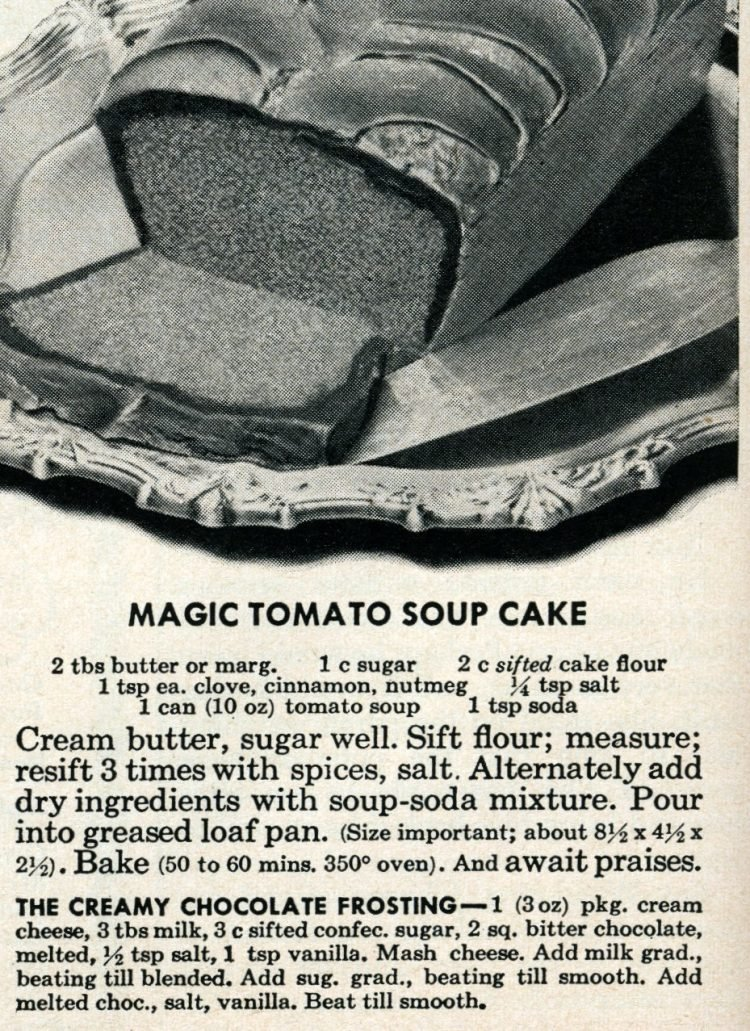 Vintage magic tomato soup cake recipe