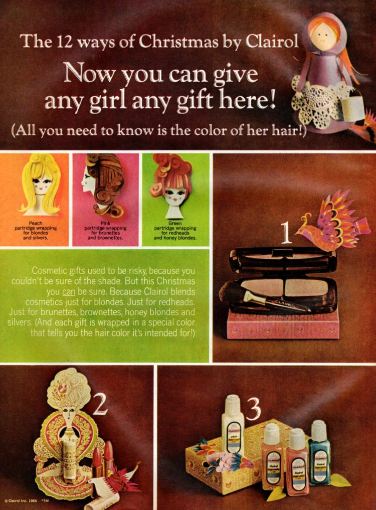 Vintage makeup gift sets from Clairol, based on hair color 1966 (1)