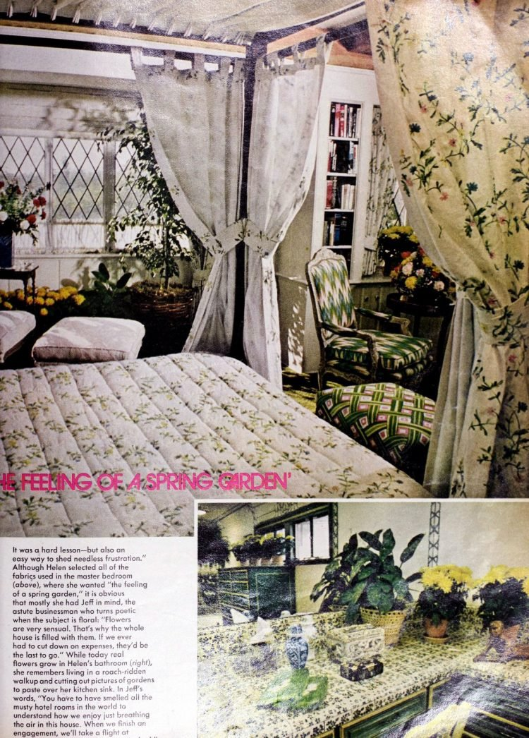 Vintage master bedroom decor and bathroom - Helen Reddy 1970s