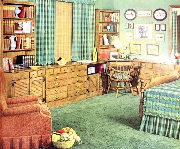 Vintage master bedroom with built-in desk and shelving from the 1950s
