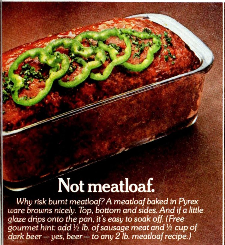 Vintage meatloaf serving suggestion 1970s