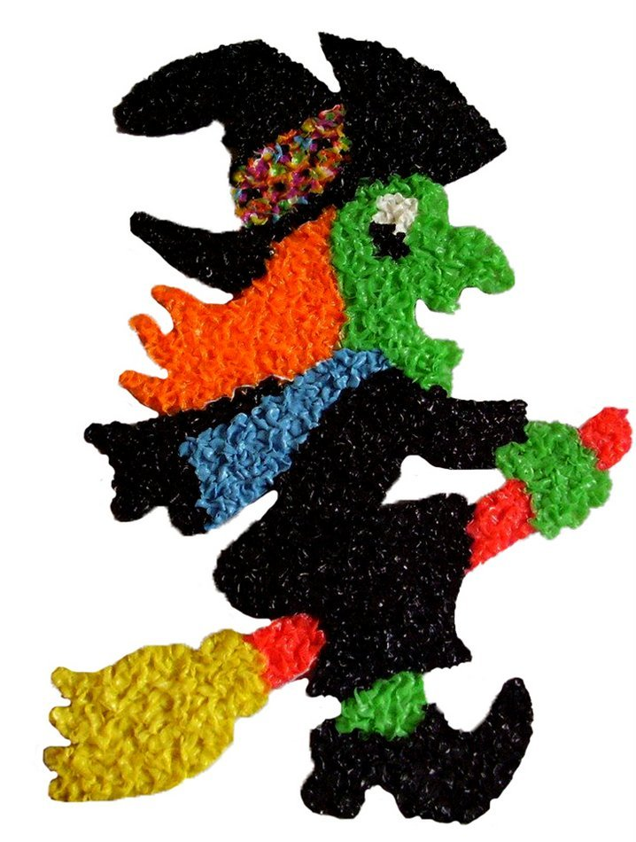Vintage melted plastic popcorn Halloween witch decoration