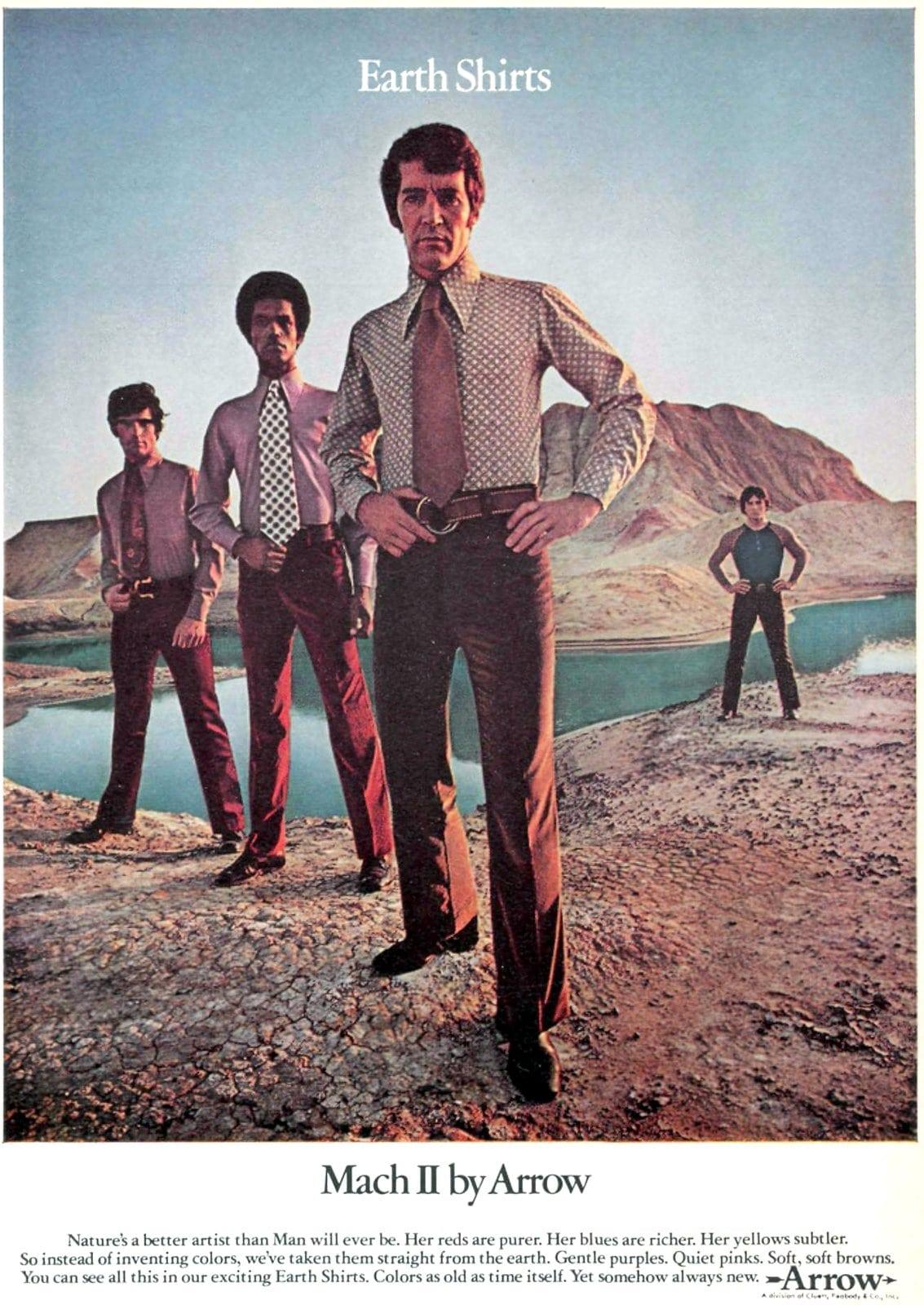 Vintage menswear - Mach II earth shirts by Arrow (1971)