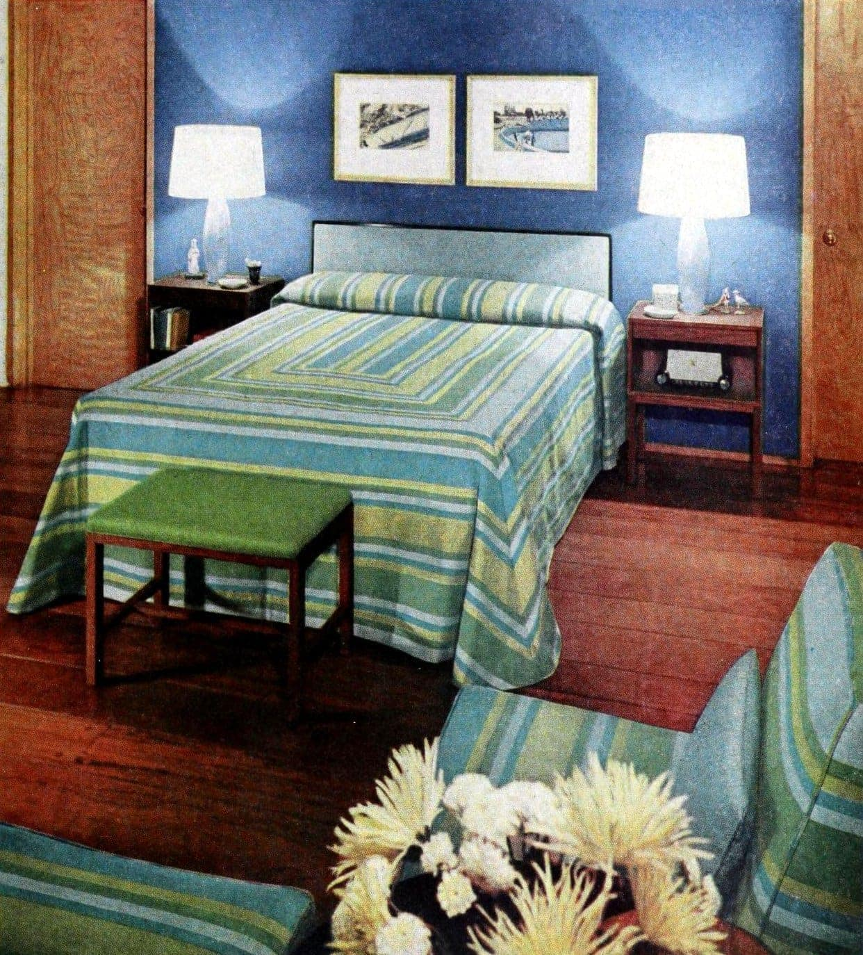 Vintage midcentury 50s master bedroom with blue and green soft furnishings