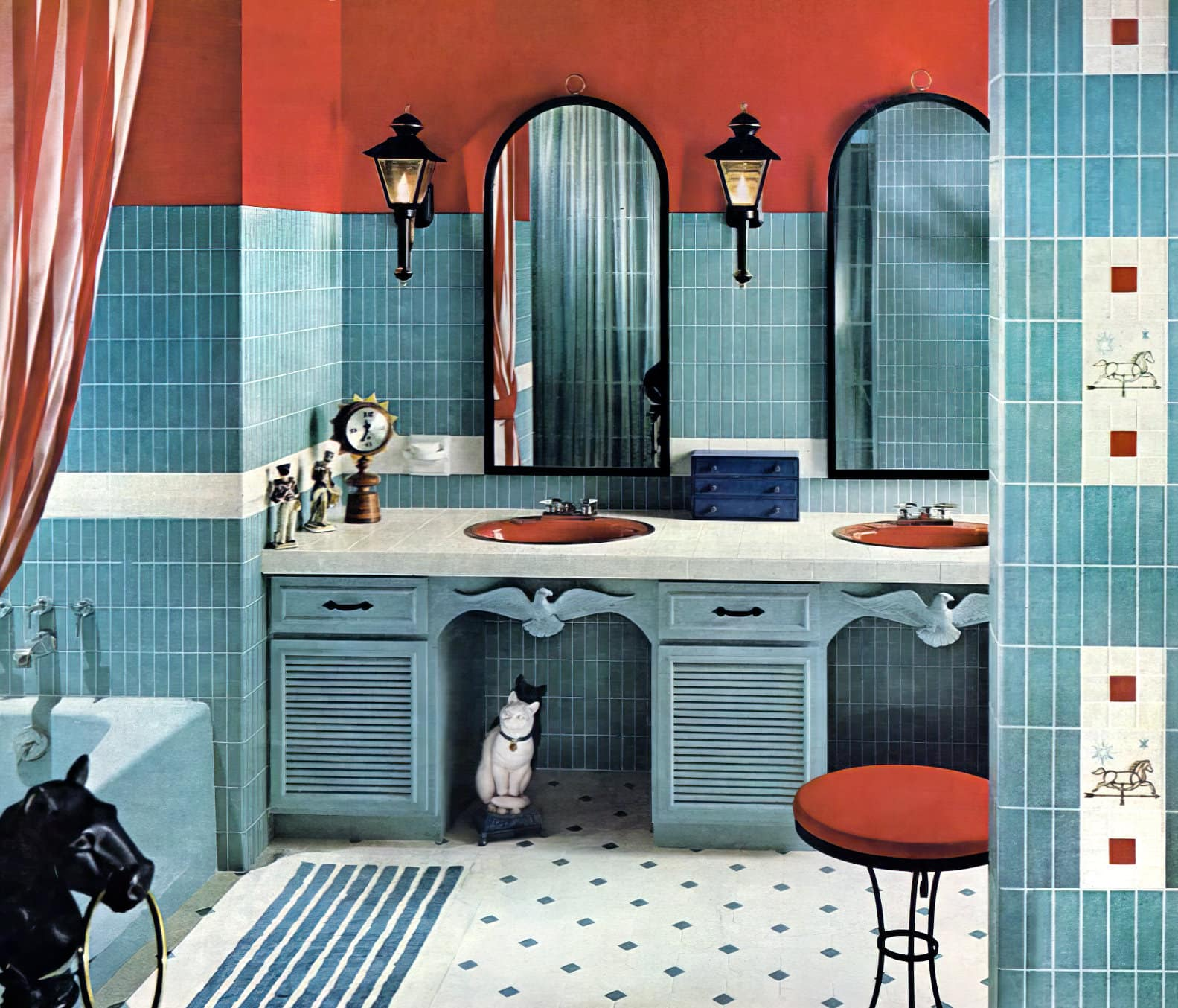 Vintage mid-century bathroom tile design with red and blue