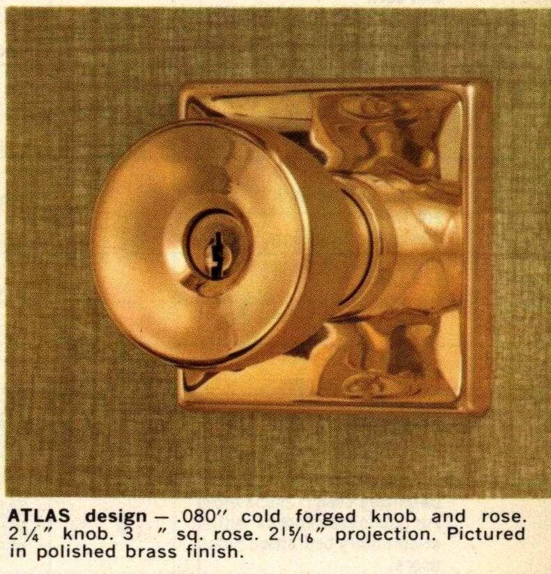 Vintage mid-century modern Atlas brass doorknob (1959)