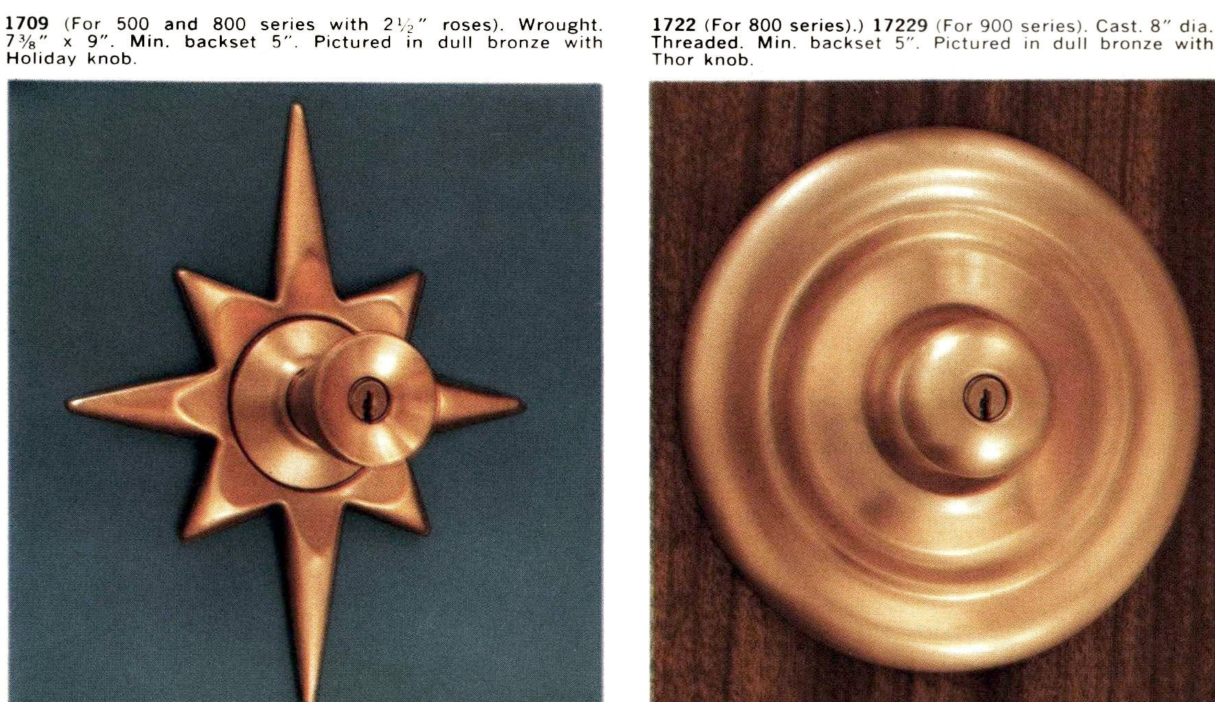 Vintage mid-century modern doorknobs and locks from 1959 (6)