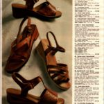 Vintage mid-heel brown leather sandals from the '70s with wood and cork soles