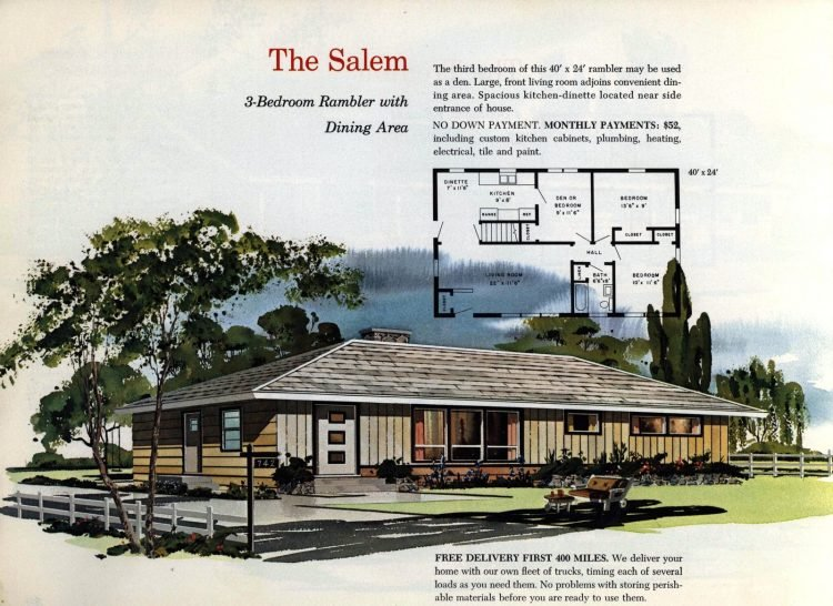 Vintage midcentury 1960s home plans from Collier Barnett in 1963 (19)