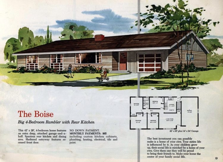 Vintage midcentury 1960s home plans from Collier Barnett in 1963 (5)