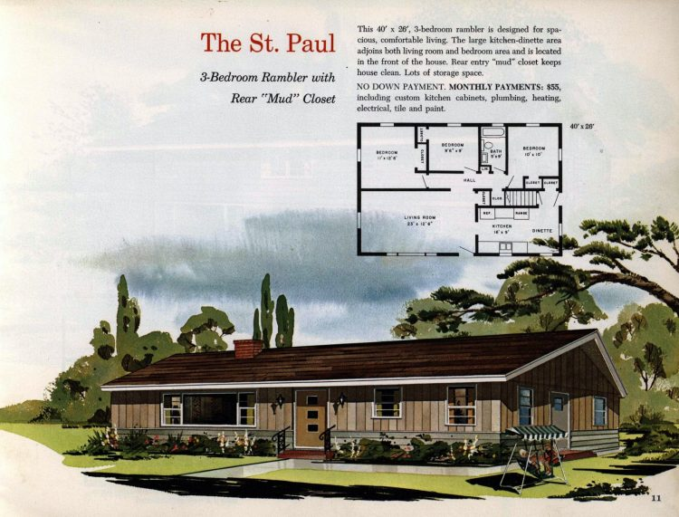 Vintage midcentury 1960s home plans from Collier Barnett in 1963 (7)