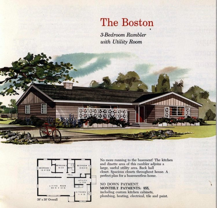Vintage midcentury 1960s home plans from Collier Barnett in 1963 (9)