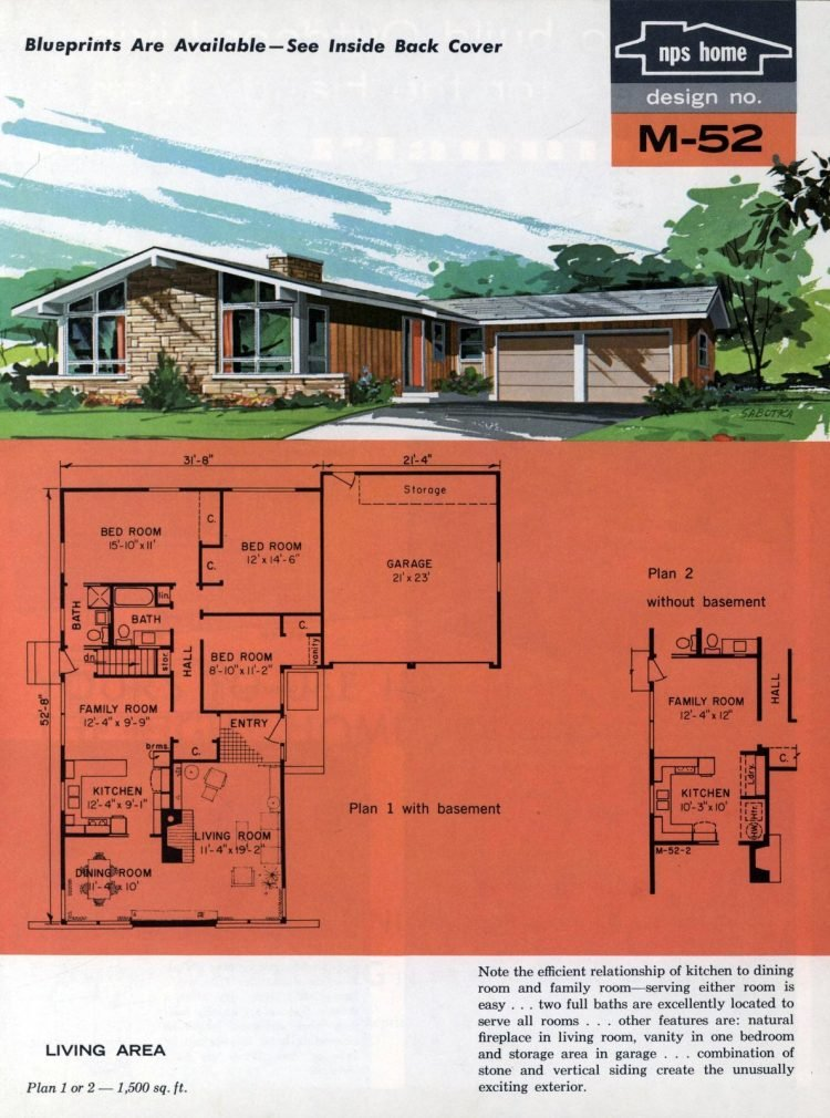 Vintage midcentury home plans from 1963 (1)