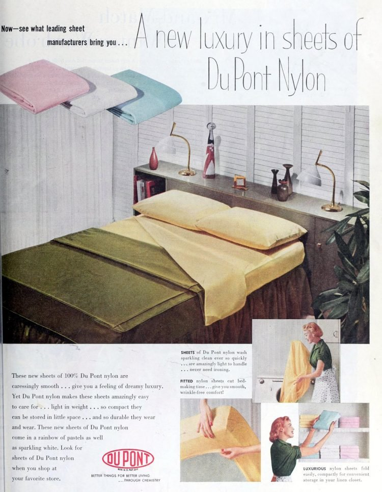 Vintage midcentury modern sheets and bedroom decor from the 1950s