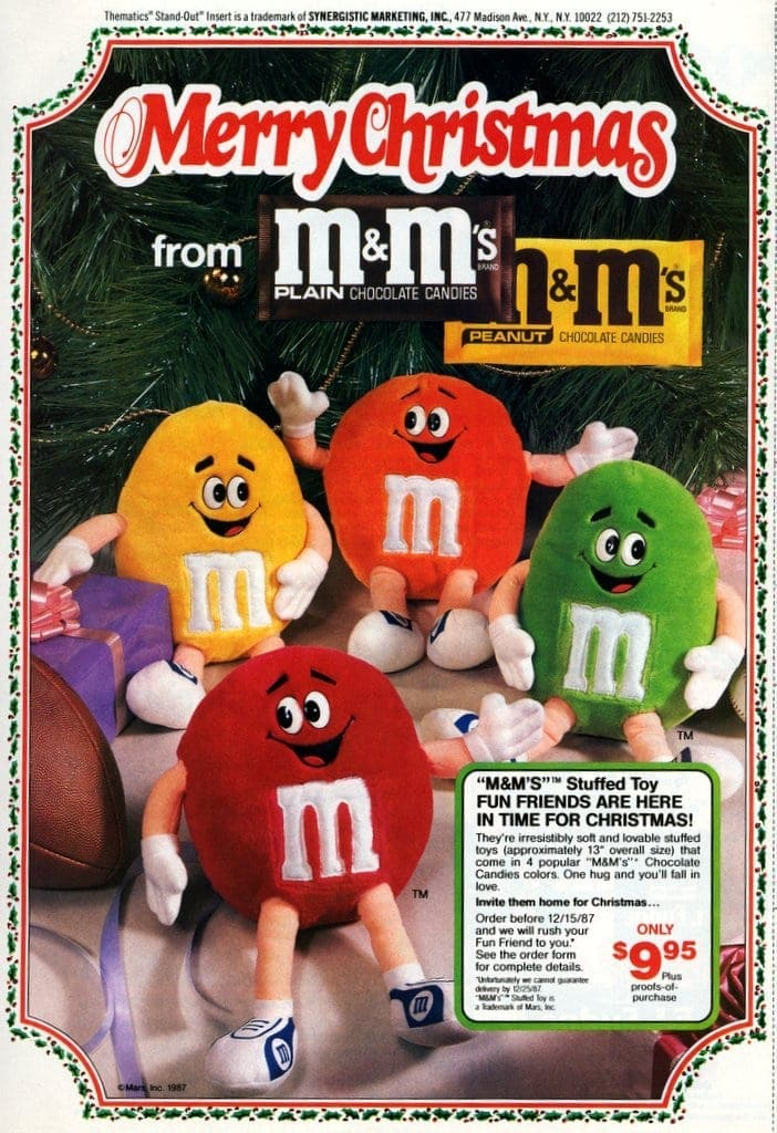 Vintage mms candy stuffed toys from 1987