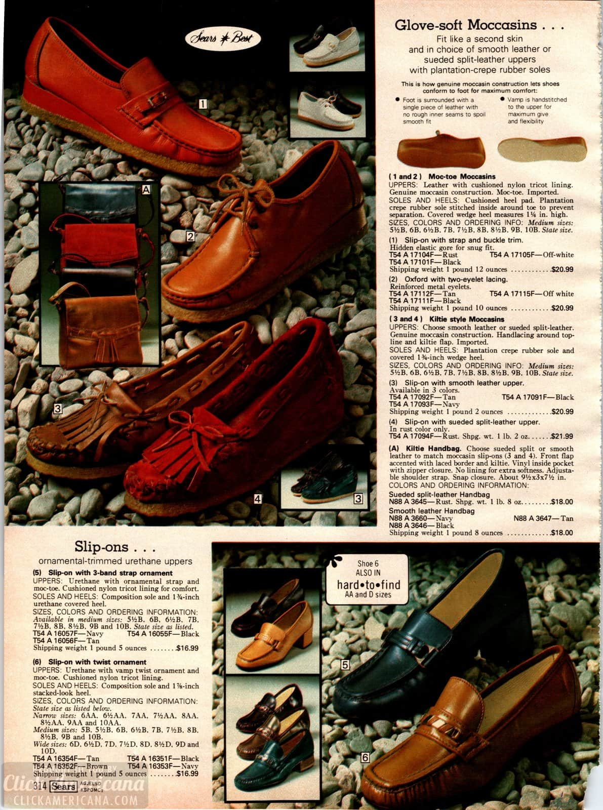 Vintage moccasin-style shoes and slip-on footwear for women from 1979