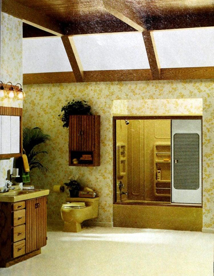 Vintage mustard yellow bathroom fixtures in bathroom with skylights 1978