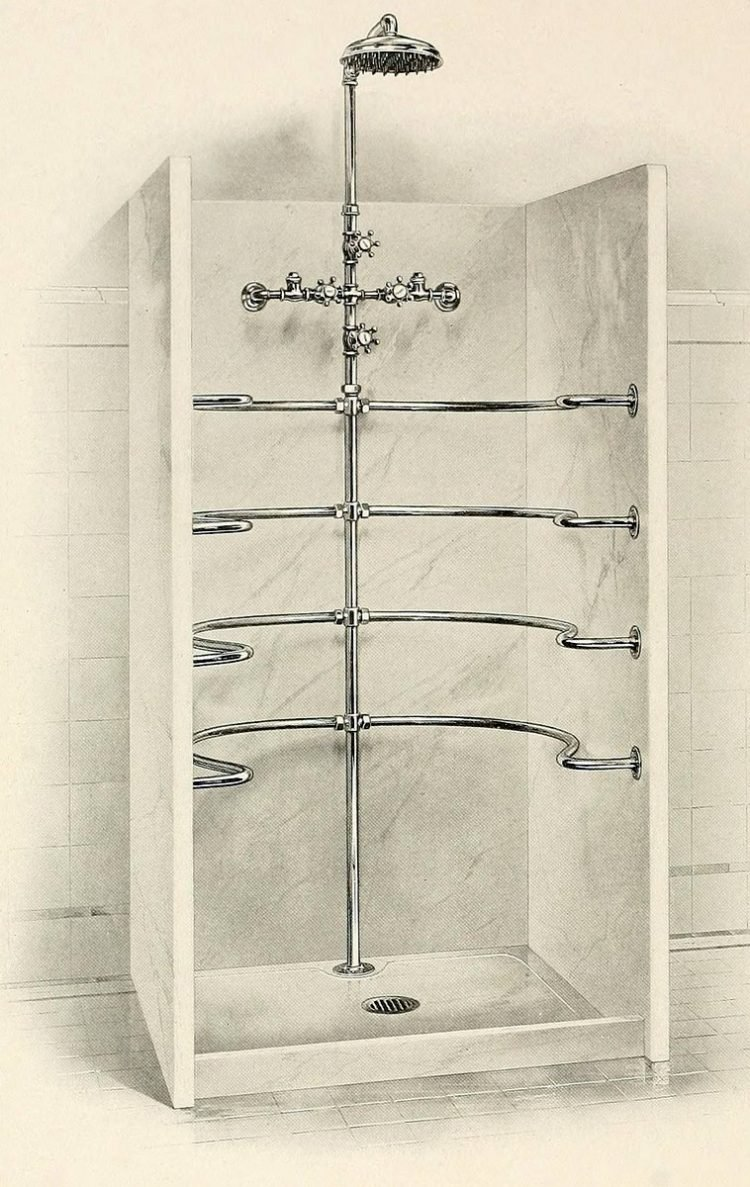 Vintage needle bath showers - Antique bathrooms from 1908 (1)