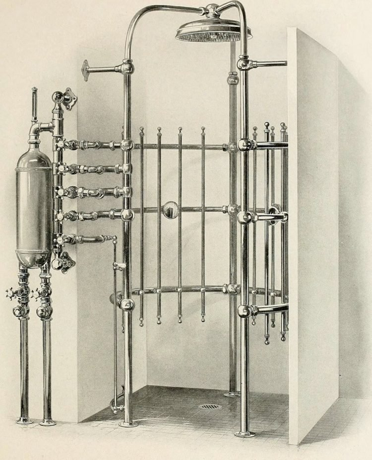 Vintage needle bath showers - Antique bathrooms from 1908 (4)