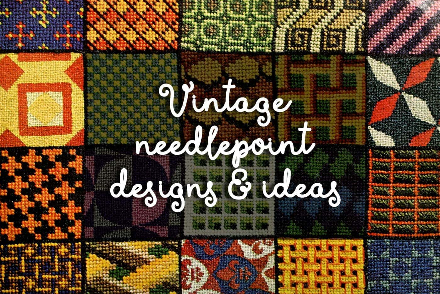 Vintage Needlepoint Street Scene