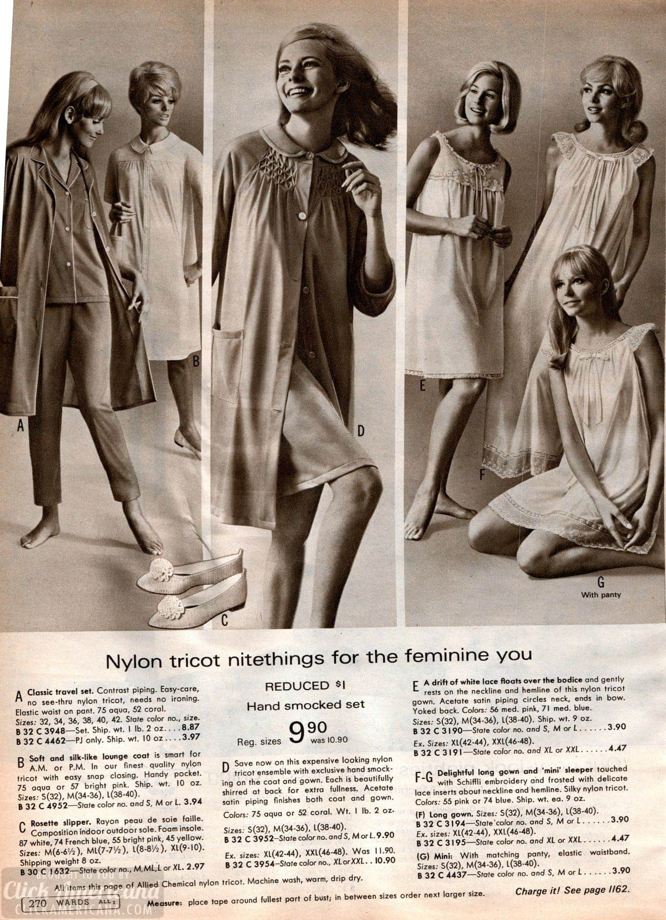 Vintage nightgowns and pajamas from the 60s