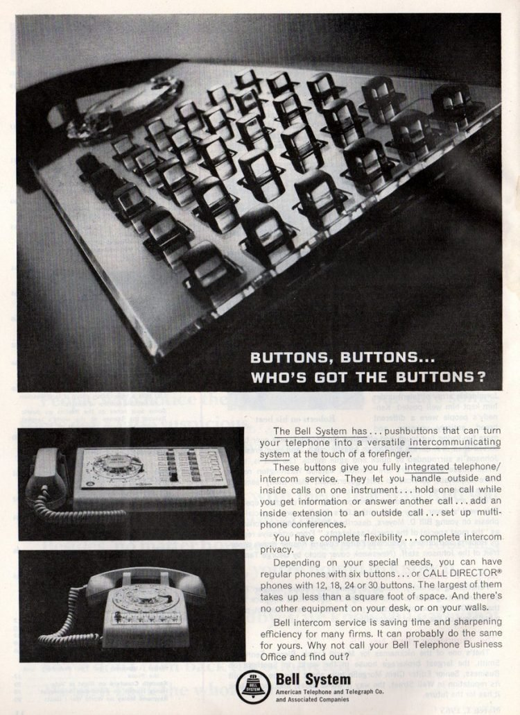 Vintage office telephone close-up of clear buttons for extensions from 1966