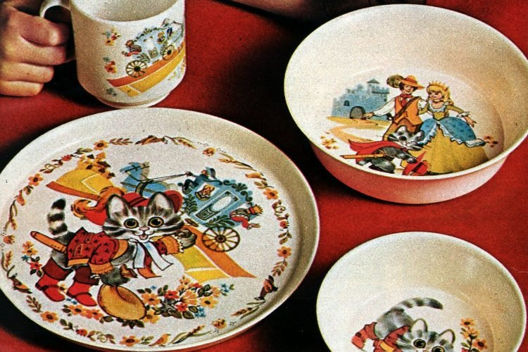 Vintage old Betty Crocker Storybook Dinnerware sets for kids