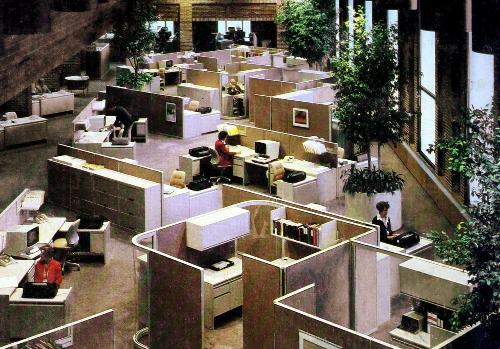 Vintage old office cubicles from the 1970s - Business and jobs