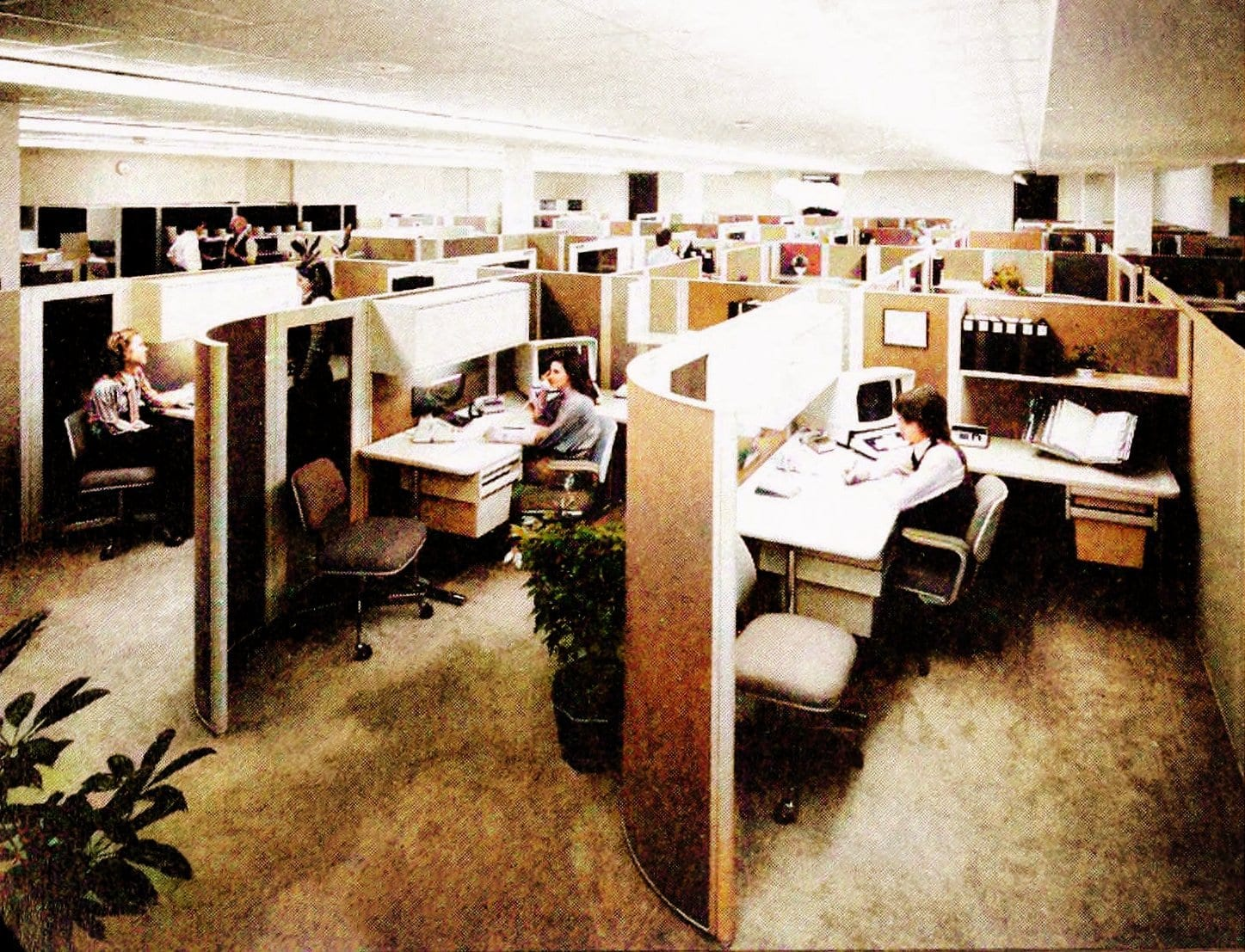 Vintage open plan office arrangements with cubicles - Workplaces from the 1970s (1)