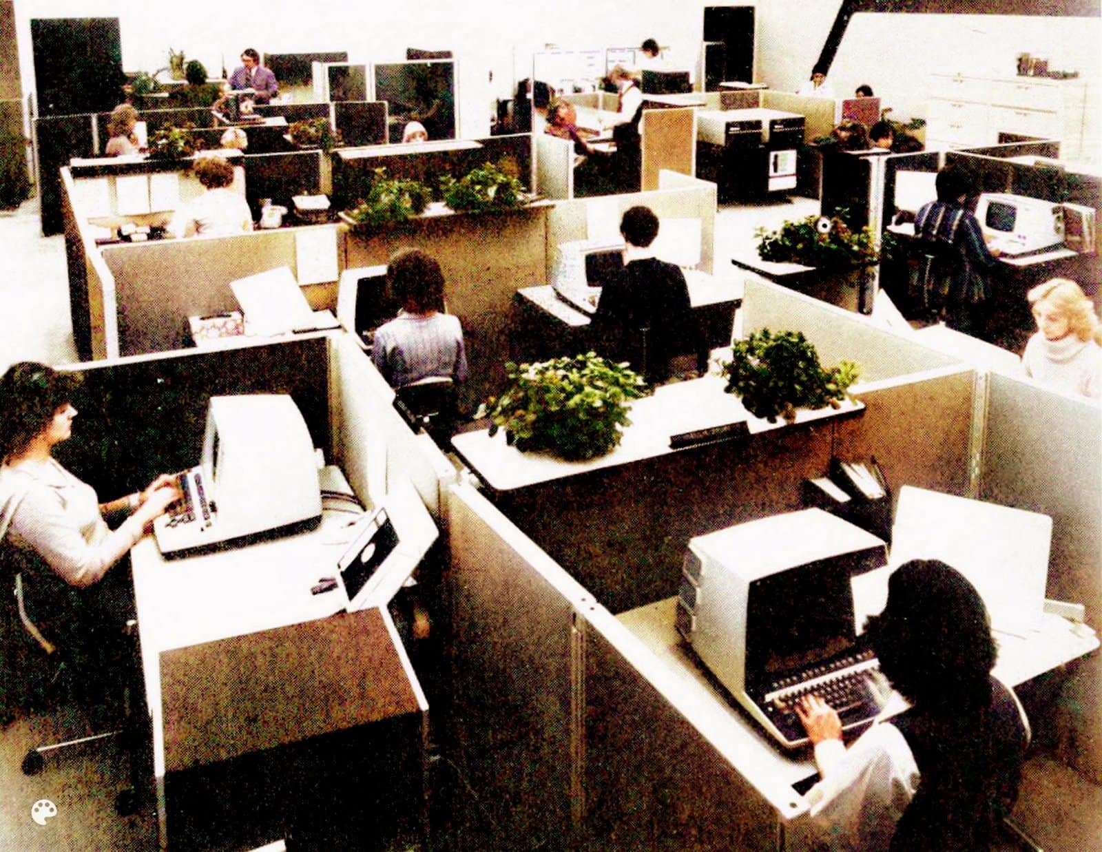 Vintage open plan office arrangements with cubicles - Workplaces from the 1970s (2)