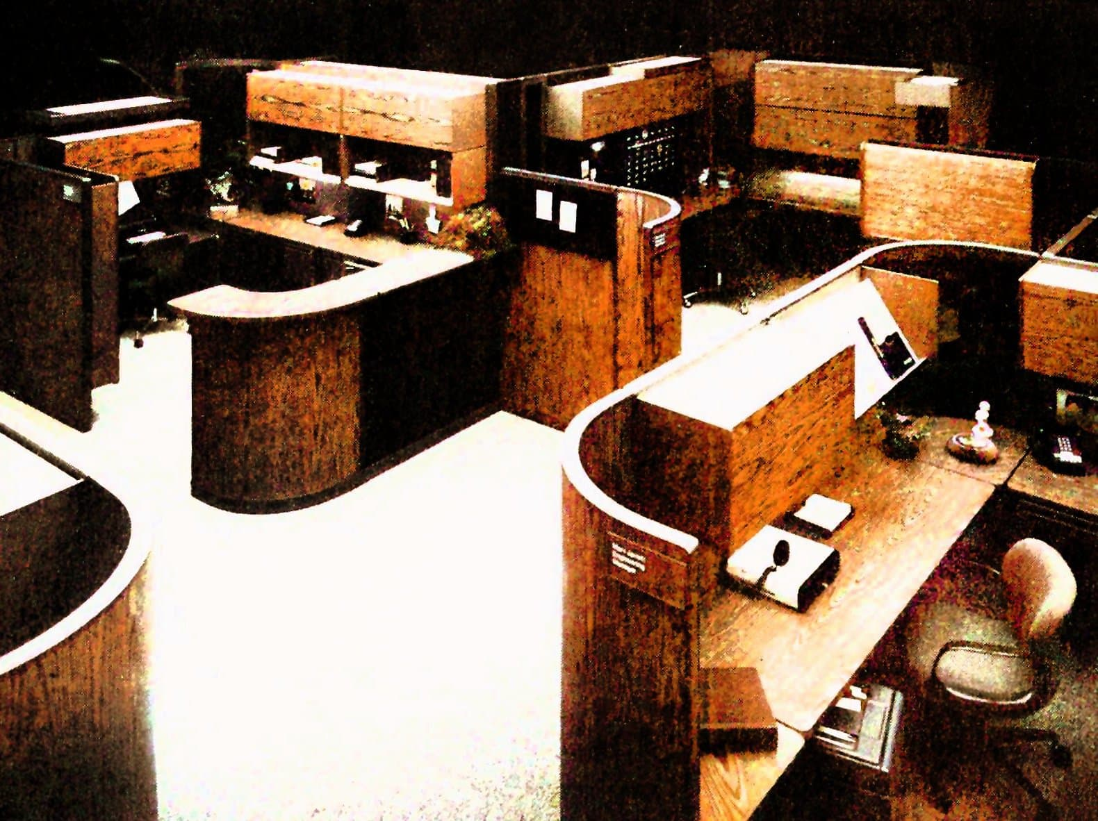 Vintage open plan office arrangements with cubicles - Workplaces from the 1970s (3)