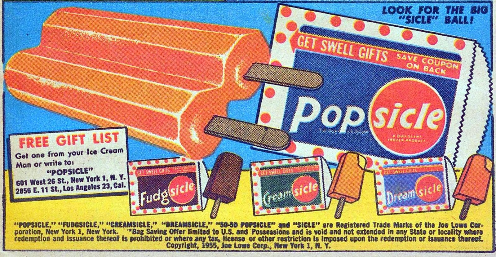 Vintage orange popsicle comic book ad from 1955