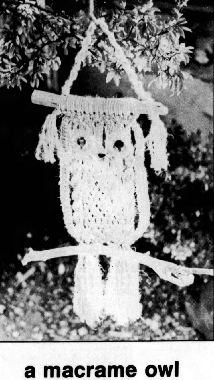 Vintage owl macrame project from 1977 (1)