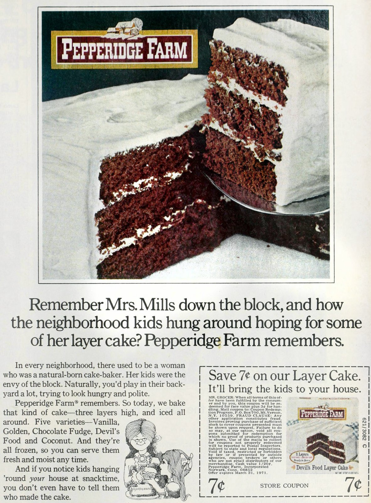 Vintage packaged frosted layer cakes (1970)