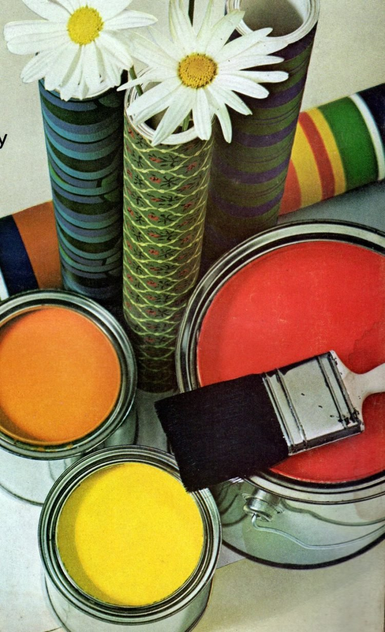 Vintage paint cans and wallpaper from the 1970s