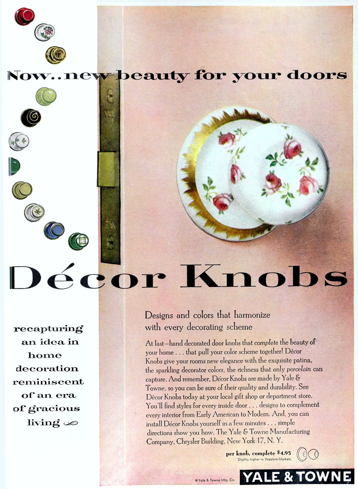 Vintage painted porcelain Yale and Towne Decor Knobs door hardware (1953)