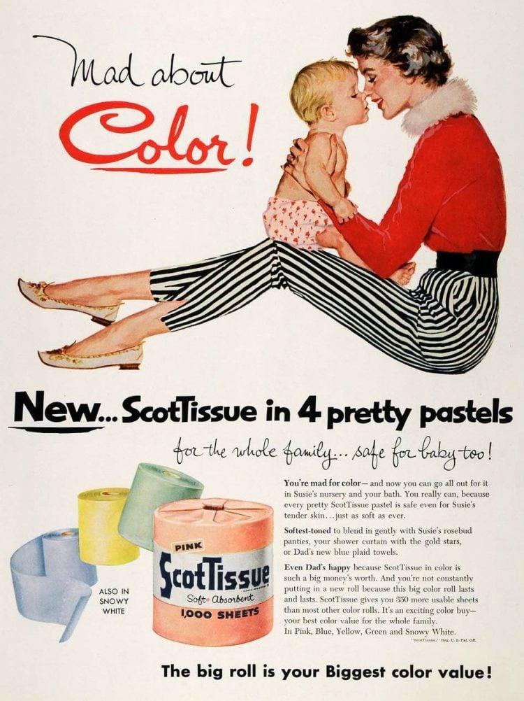 Vintage pastel ScotTissue toilet paper - 1956