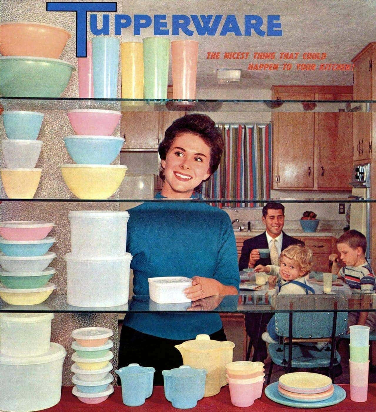 Vintage pastel Tupperware sets from the 1950s
