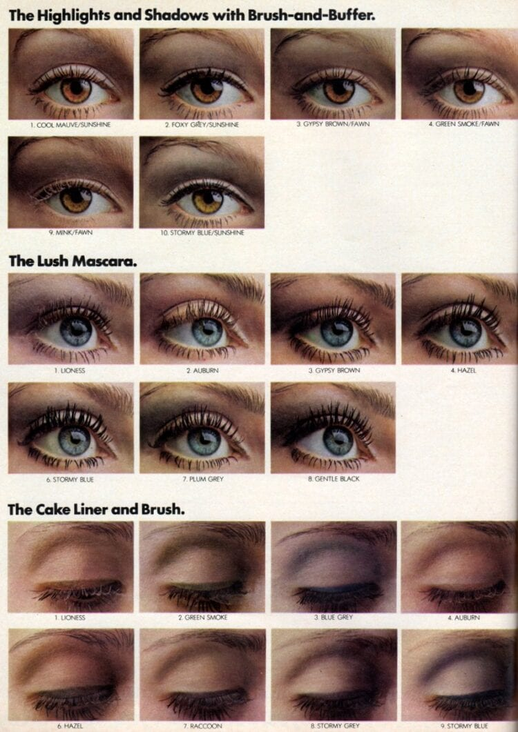 Retro pastel eye makeup types - Eyeshadow mascara and more from 1970