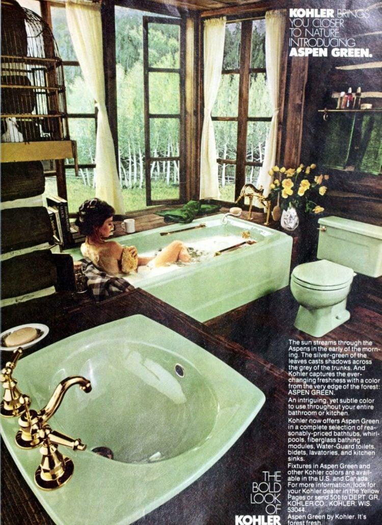 Vintage pastel green bathroom suite from 1979