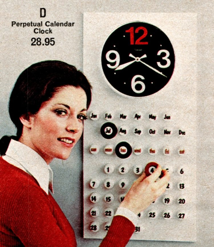 Vintage perpetual kitchen calendar and clock from the '70s