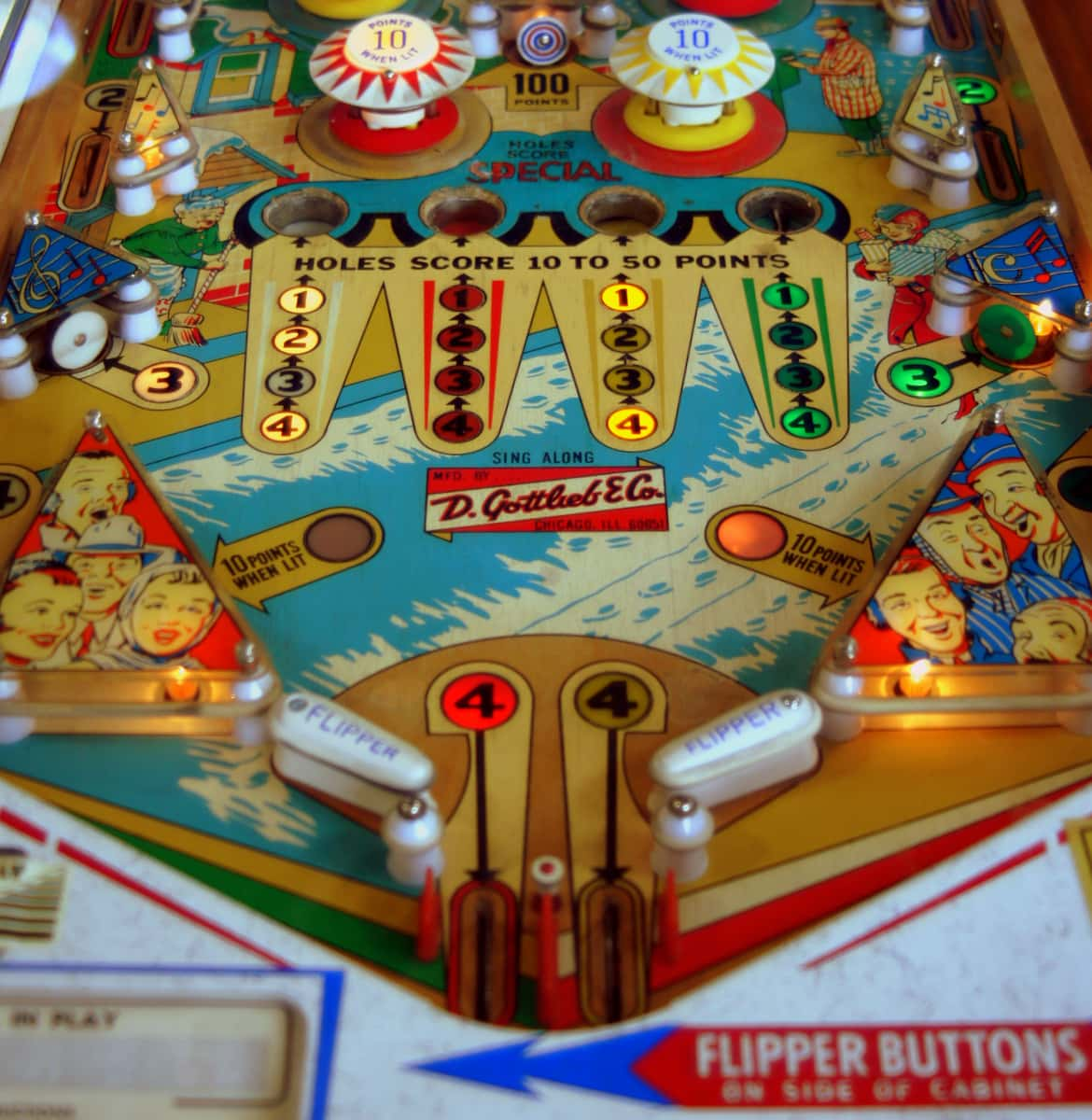 Vintage pinball machine with flippers
