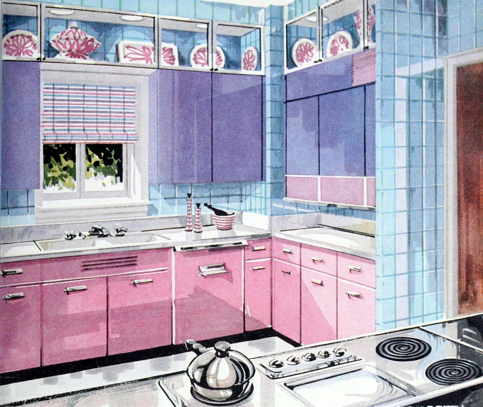 Vintage pink 1950s kitchen with bonus purple cabinets (1956)